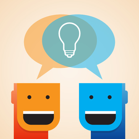 minded: Vector illustration of two open minded guys sharing a light bulb.
