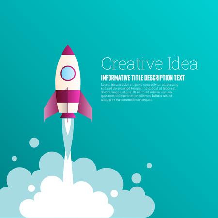 breakthrough: Vector illustration of creative idea copyspace design elements. Illustration