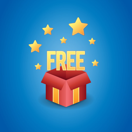free gift: Vector illustration of a magic free gift box.