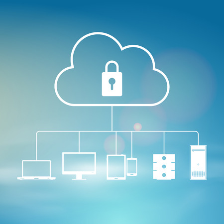 computer security: Vector illustration of secure cloud sky background design element. Illustration