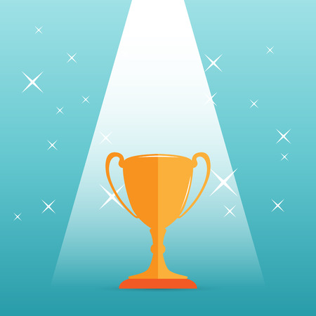 accomplish: Vector illustration of a golden trophy on a spotlight.
