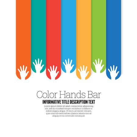 Vector illustratie van kleur handen bar design element.