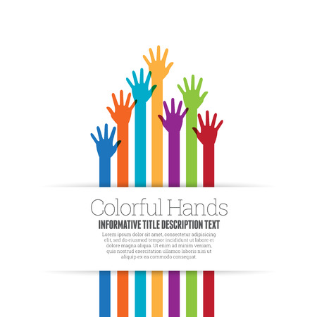 Vector illustration of colorful hands copyspace.