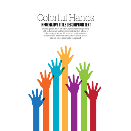 volunteering: Vector illustration of various colorful raising hands copyspace design element.
