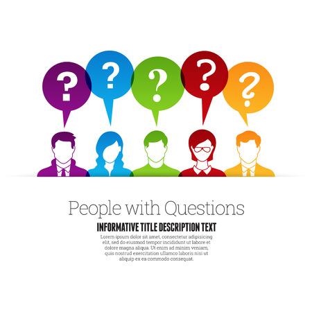 signo de interrogaci�n: Ilustraci�n del vector de la gente de color perfil con signos de interrogaci�n hablar burbujas.