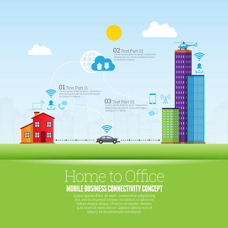 Vector illustration of home to office cloud web connection infographic design elements.