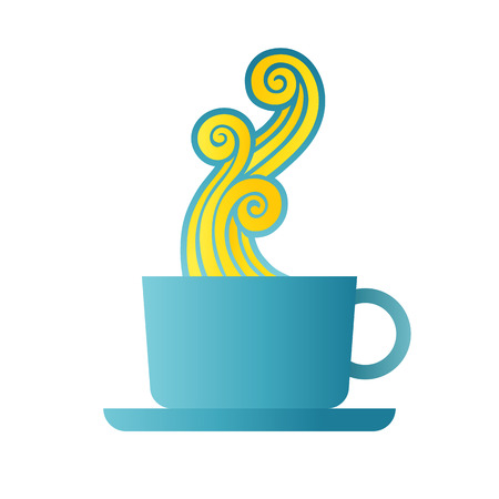 puffing: Vector cartoon illustration of coffee with steam design element. Illustration