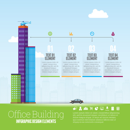 Vector illustration of office buildings infographic design element. Illustration