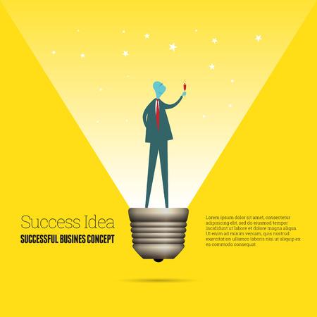 accomplishments: Vector cartoon illustration of a successful businessman as a lightbulb.