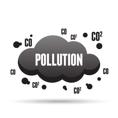 Vector illustration of black dark pollution cloud. Vector