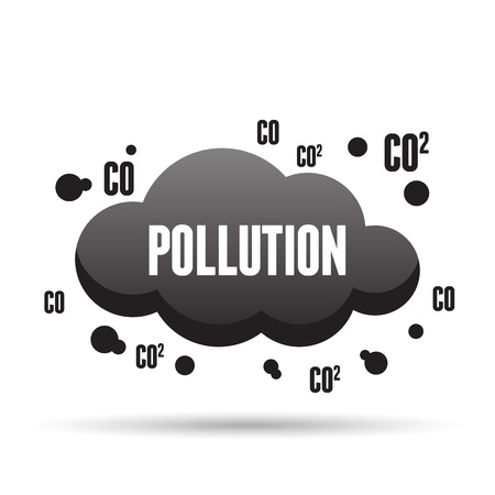 air pollution: Vector illustration of black dark pollution cloud.