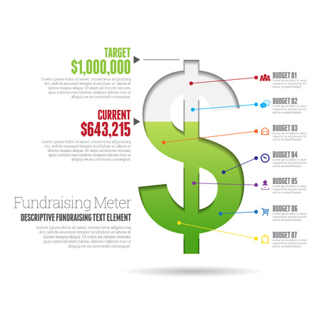 budget: Vector illustration of fundraising meter infographic design element.