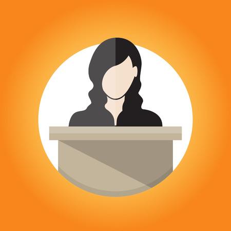 illustratie van een vrouwelijke spreker in het openbaar.