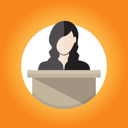 public: illustration of a female public speaker. Illustration