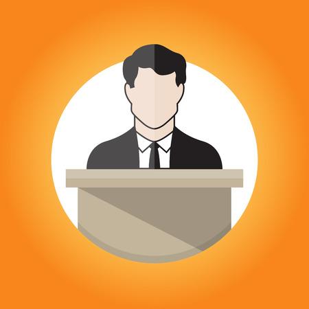 tribune: illustration of a male public speaker.