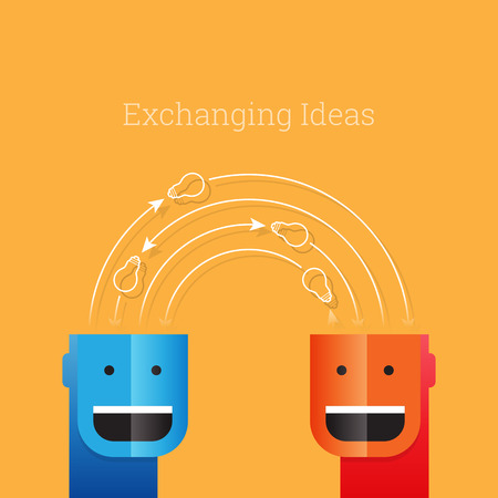 exchanging: illustration of conceptual people exchanging light bulbs. Illustration
