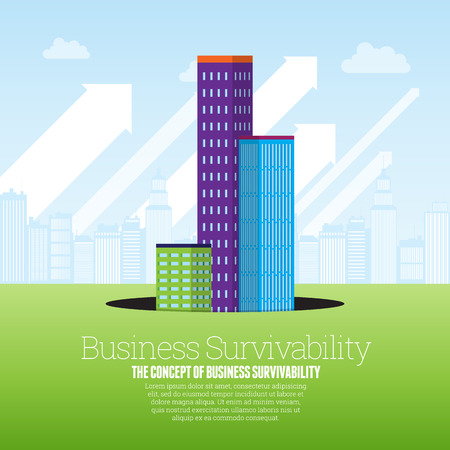 surviving: Vector illustration of set of office buildings rising from a black pit hole.