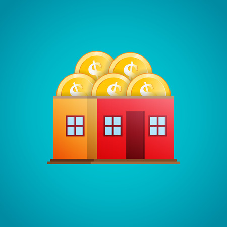 home value: Vector illustration of a house containing a heap of gold dollar coins.