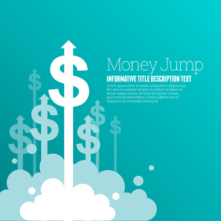 finance background: Vector illustration of dollar currency signs with upward arrows.
