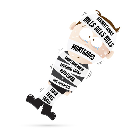 tied up: Vector cartoon illustration of a man mummified by debt tapes.