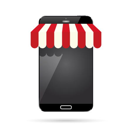 an awning: Vector illustration of a black smartphone with awning.