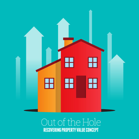Vector illustration of a house coming out from a black pit hole. Stock Illustratie