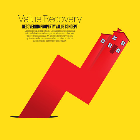 home value: Vector illustration of a red house arrow graphic rising up from a black pit hole. Illustration