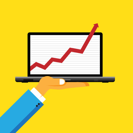exceeding: Ilustraci�n vectorial de la mano que sostiene una computadora port�til con barra gr�fica superior de la pantalla.