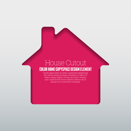 textspace: Vector illustration of house cutout copyspace design element.