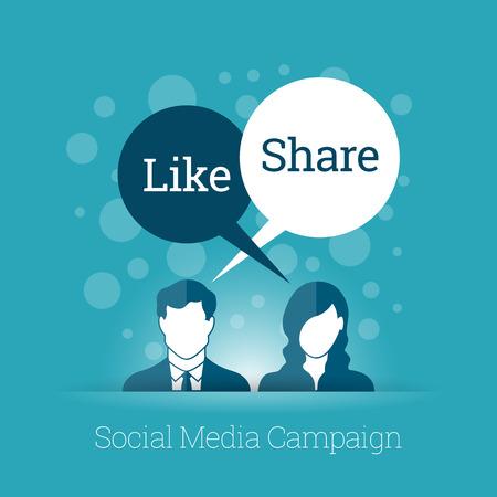 Vector business en technologie illustratie van sociale media campagne concept.