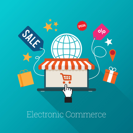 Vector illustration of laptop with awning and hand select icon with several e-commerce symbols.