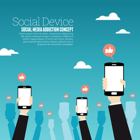 engagement: Vector illustration of hands holding up smartphones with like talk bubbles. Illustration