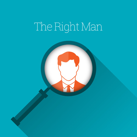 job searching: Vector illustration of magnifying glass focus on a man profile.