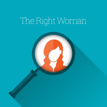 Vector illustratie van vergrootglas focus op een vrouw profiel.