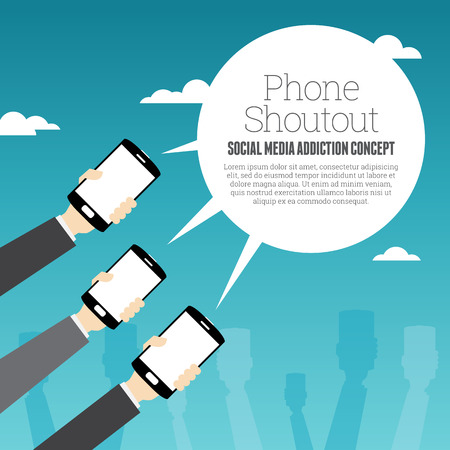wireless telephone: Vector illustration of several hands holding smartphones with copyspace on talk bubble. Illustration