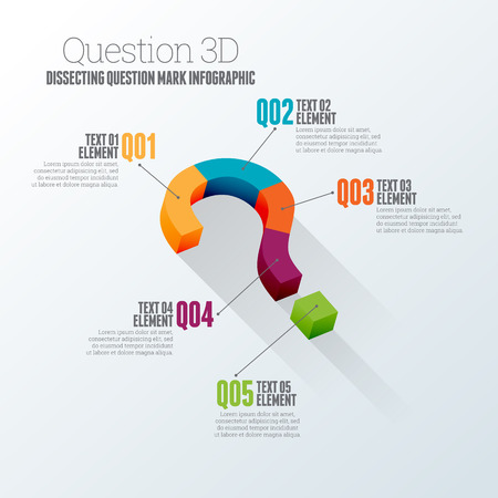 dissect: Vector illustration of dissecting question mark concept 3d infographic design element. Illustration