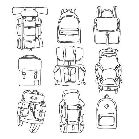 MOCHILA: Ilustración vectorial de la mochila de la vendimia etiqueta contorno. Vectores