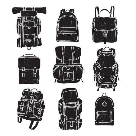 Vector illustration of backpack vintage labels. 矢量图像