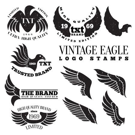Vector illustration of eagle wing vintage logo label stamps.