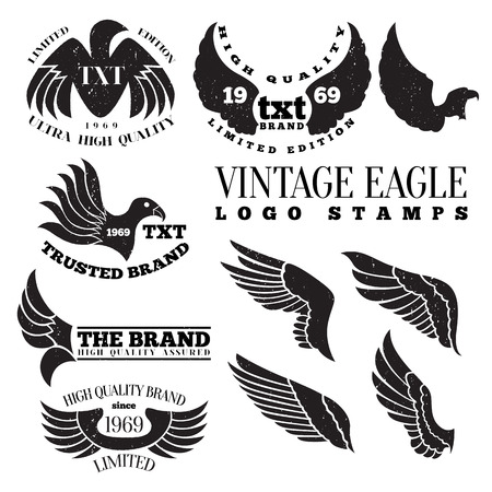 a wing: Vector illustration of eagle wing vintage logo label stamps.
