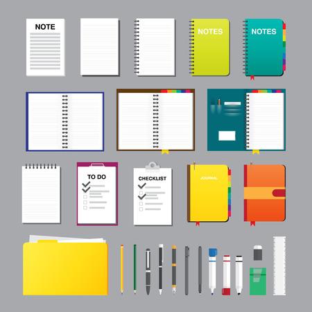 Vector illustration of notes flat design elements. Иллюстрация
