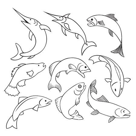 fisheries: Vector illustration of fish label stamp outline logo design element.