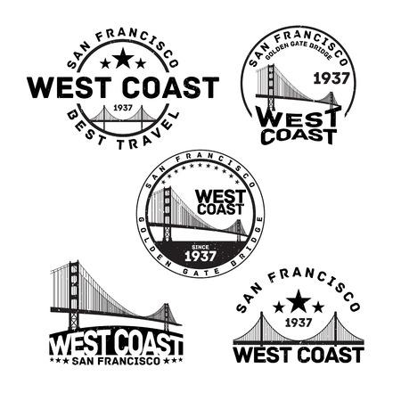voyage vintage: Vector illustration de San Francisco timbre logo avec Golden Gate Bridge.