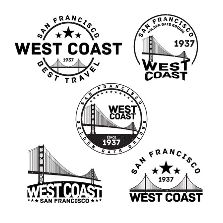 francisco: Vector illustration of San Francisco logo stamp with Golden Gate Bridge.
