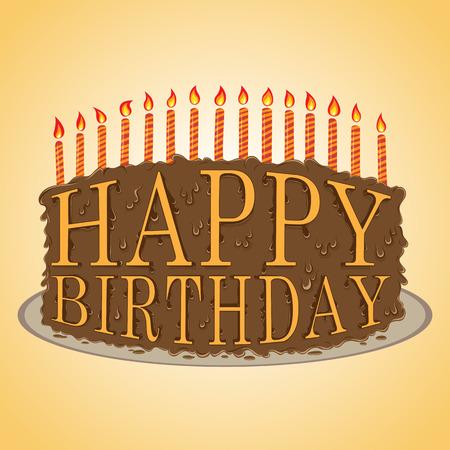 torta compleanno: illustrazione di felice compleanno testo torta al cioccolato Vector disegnati a mano.