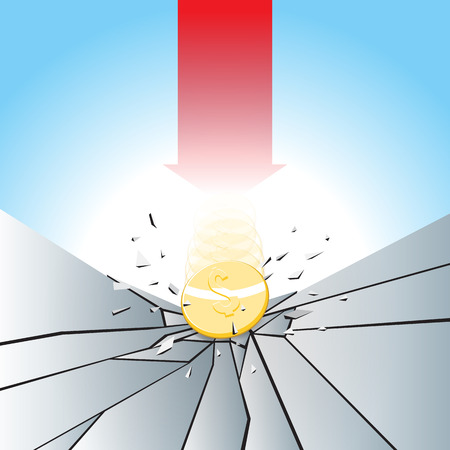 smashed: Vector illustration of gold dollar coin smashed to the breaking ground with red arrow. Illustration