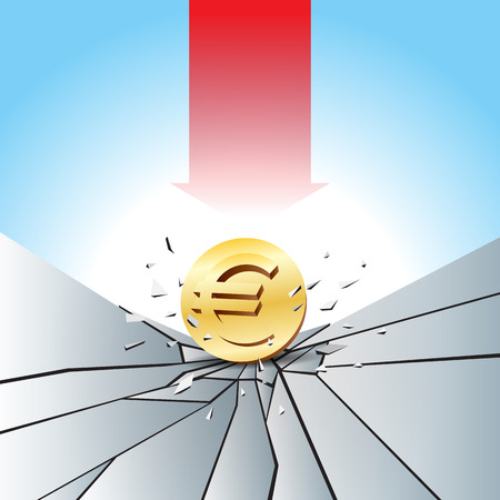 Vector illustration of Euro gold coin smashed to the cracked ground with red arrow.
