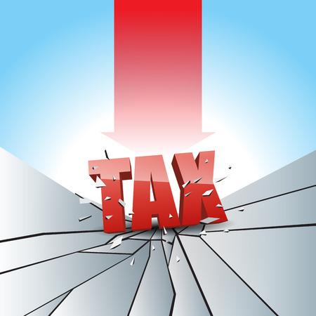 smashed: Vector illustration of tax text smashed to the breaking ground with red arrow.