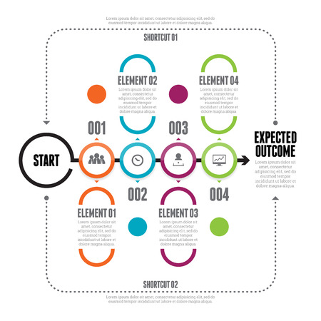 Vector illustration of bold circle line chain infographic design elements.