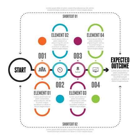 Vector illustratie van vet cirkel lijn keten infographic elementen. Stock Illustratie